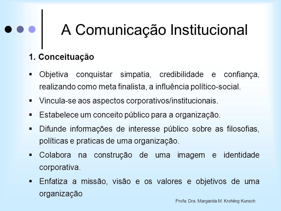 Profa. Dra. Margarida M. Krohling Kunsch A Comunicação Institucional 1. Conceituação Objetiva conquistar simpatia, credibilidade e confiança, realizan