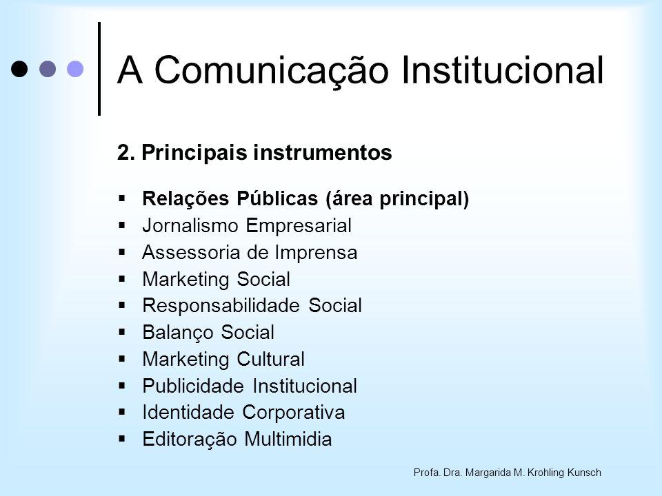 Profa. Dra. Margarida M. Krohling Kunsch A Comunicação Institucional 2. Principais instrumentos Relações Públicas (área principal) Jornalismo Empresar