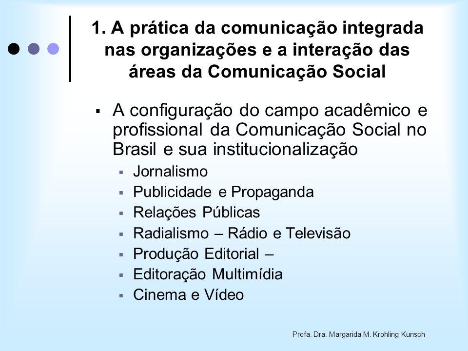 Profa. Dra. Margarida M. Krohling Kunsch 1. A prática da comunicação integrada nas organizações e a interação das áreas da Comunicação Social A config