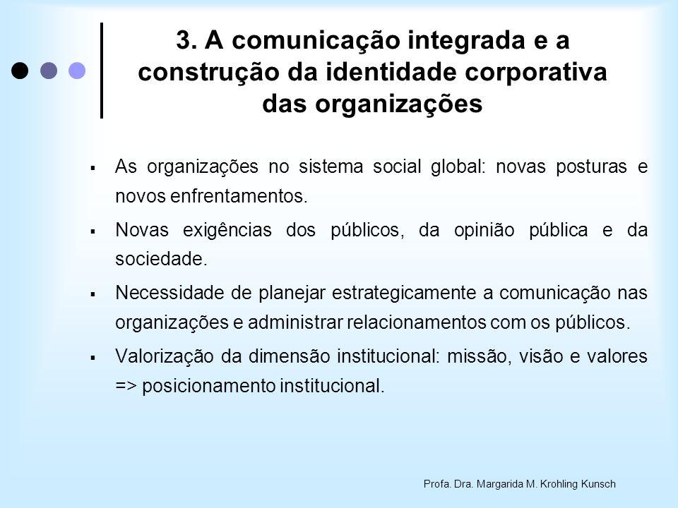 3. A comunicação integrada e a construção da identidade corporativa das organizações As organizações no sistema social global: novas posturas e novos