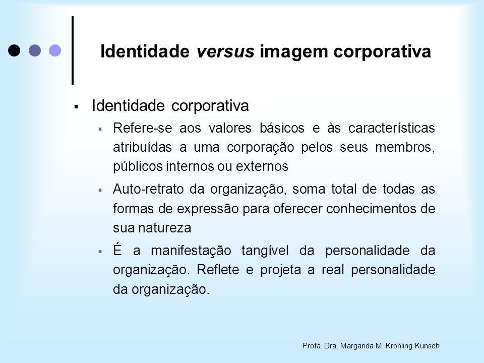 Profa. Dra. Margarida M. Krohling Kunsch Identidade corporativa Refere-se aos valores básicos e às características atribuídas a uma corporação pelos s