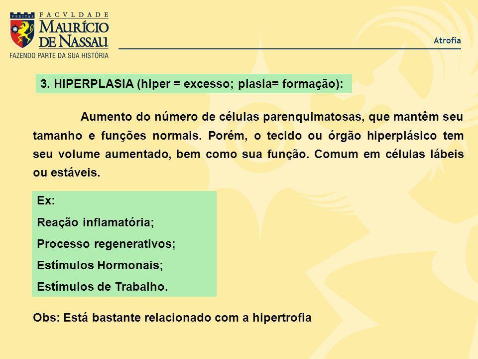 3. HIPERPLASIA (hiper = excesso; plasia= formação): Aumento do número de células parenquimatosas, que mantêm seu tamanho e funções normais. Porém, o t