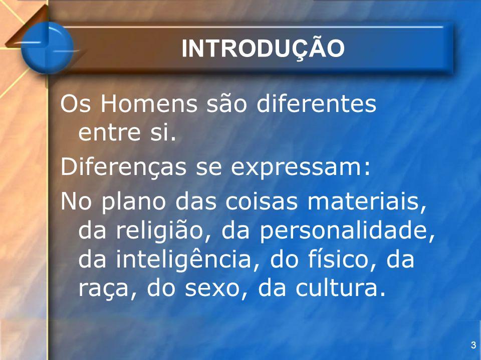 3 INTRODUÇÃO Os Homens são diferentes entre si. Diferenças se expressam: No plano das coisas materiais, da religião, da personalidade, da inteligência