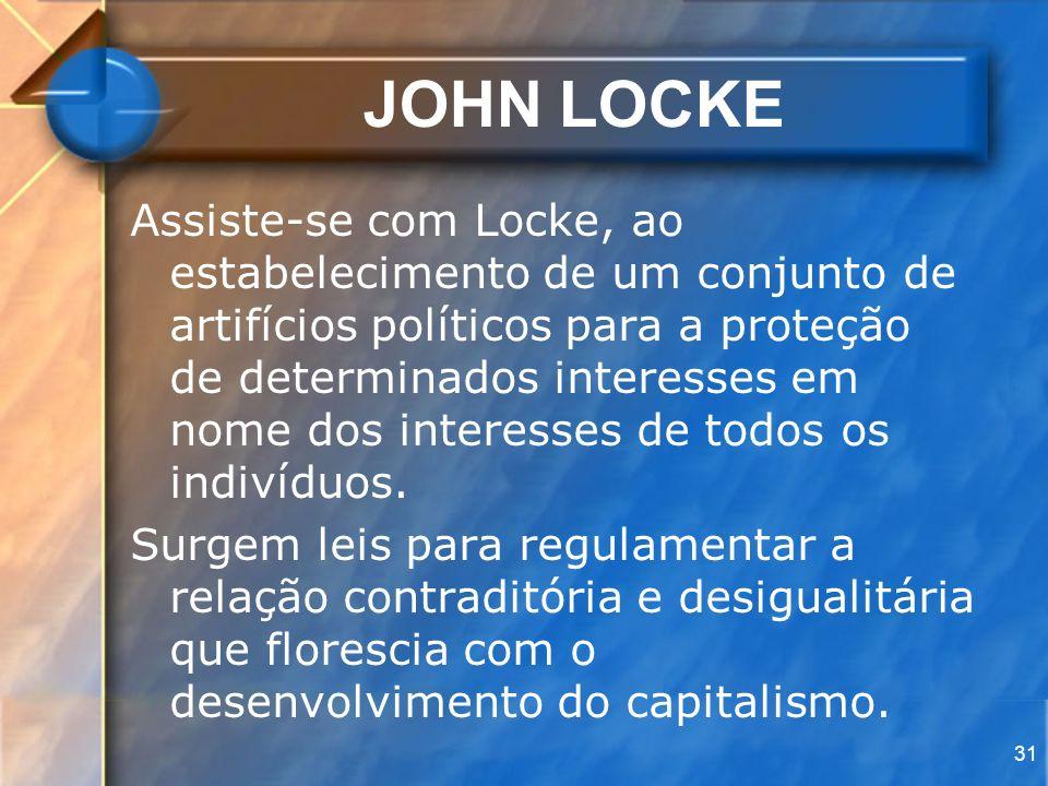 31 JOHN LOCKE Assiste-se com Locke, ao estabelecimento de um conjunto de artifícios políticos para a proteção de determinados interesses em nome dos i