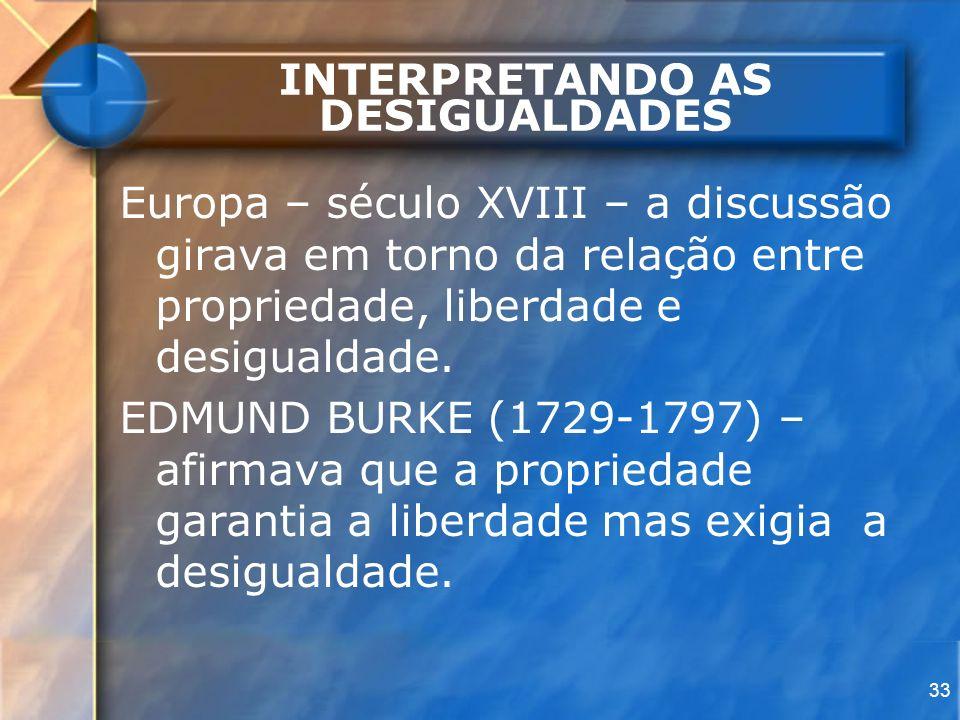 33 INTERPRETANDO AS DESIGUALDADES Europa – século XVIII – a discussão girava em torno da relação entre propriedade, liberdade e desigualdade. EDMUND B