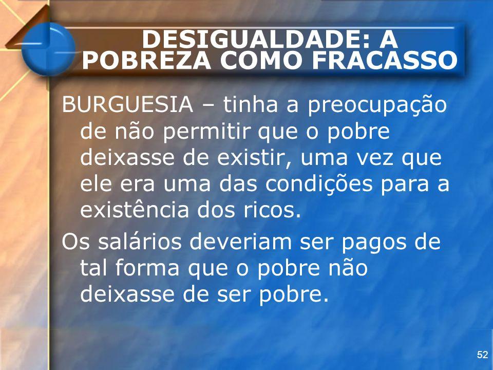 52 DESIGUALDADE: A POBREZA COMO FRACASSO BURGUESIA – tinha a preocupação de não permitir que o pobre deixasse de existir, uma vez que ele era uma das