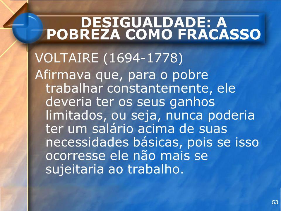 53 DESIGUALDADE: A POBREZA COMO FRACASSO VOLTAIRE (1694-1778) Afirmava que, para o pobre trabalhar constantemente, ele deveria ter os seus ganhos limi
