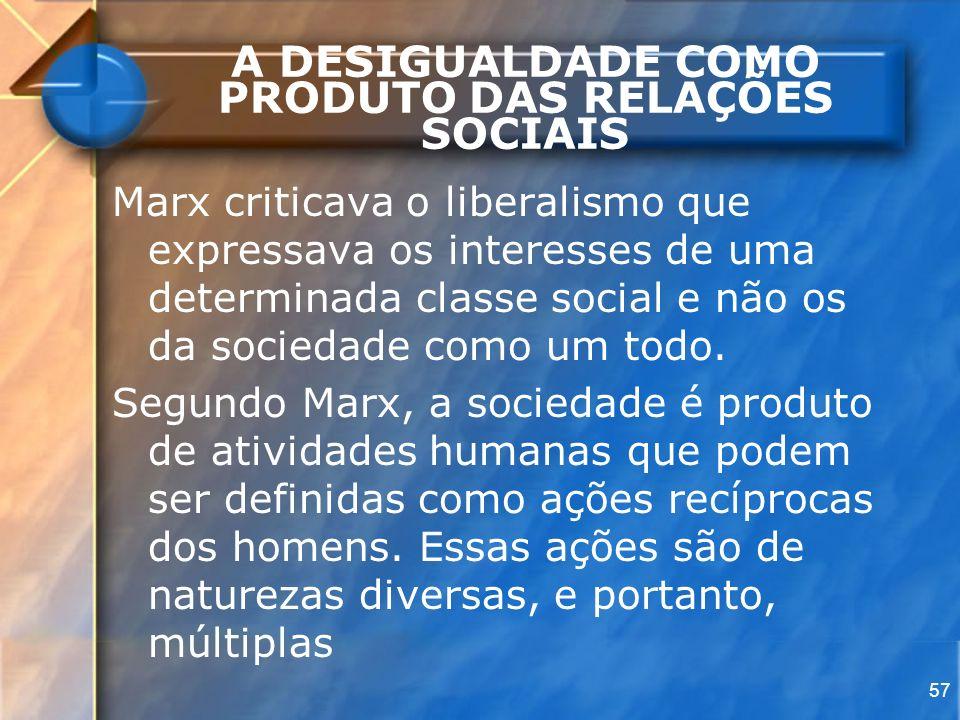 57 A DESIGUALDADE COMO PRODUTO DAS RELAÇÕES SOCIAIS Marx criticava o liberalismo que expressava os interesses de uma determinada classe social e não o