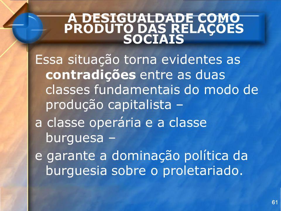 61 A DESIGUALDADE COMO PRODUTO DAS RELAÇÕES SOCIAIS Essa situação torna evidentes as contradições entre as duas classes fundamentais do modo de produç