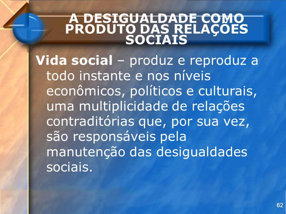 62 A DESIGUALDADE COMO PRODUTO DAS RELAÇÕES SOCIAIS Vida social – produz e reproduz a todo instante e nos níveis econômicos, políticos e culturais, um