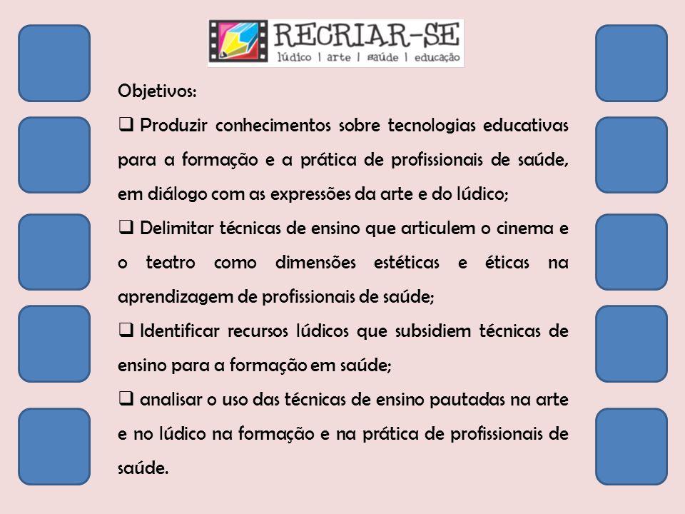 Objetivos: Produzir conhecimentos sobre tecnologias educativas para a formação e a prática de profissionais de saúde, em diálogo com as expressões da