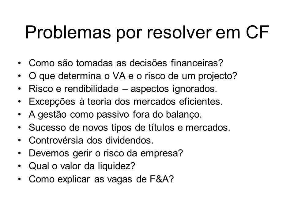Problemas por resolver em CF Como são tomadas as decisões financeiras? O que determina o VA e o risco de um projecto? Risco e rendibilidade – aspectos