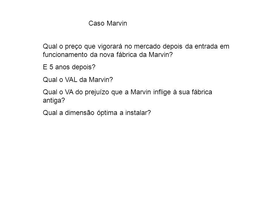 Caso Marvin Qual o preço que vigorará no mercado depois da entrada em funcionamento da nova fábrica da Marvin? E 5 anos depois? Qual o VAL da Marvin?