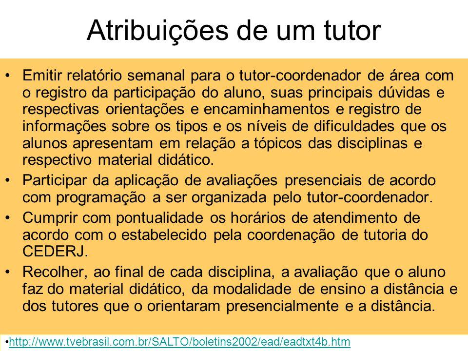 Atribuições de um tutor Conhecer o projeto didático-pedagógico do curso e o material didático das disciplinas sob sua responsabilidade, demonstrando d