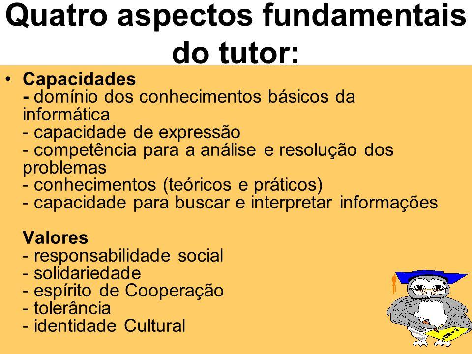 Quatro aspectos fundamentais do tutor: Capacidades; Valores; Atitudes; Disposição