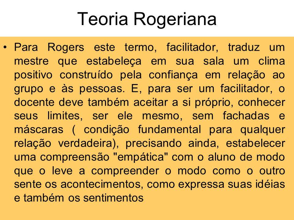 Teoria Rogeriana O mestre facilitador, empático e acolhedor não se torna o dono da identidade do aluno, mas, também, não perde a sua própria. A aborda