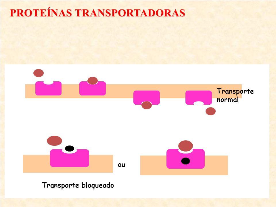 PROTEÍNAS TRANSPORTADORAS Transporte normal Transporte bloqueado ou