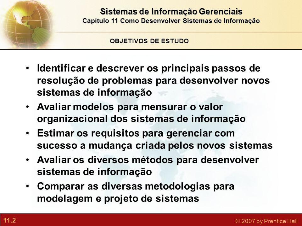 11.2 © 2007 by Prentice Hall Sistemas de Informação Gerenciais Capítulo 11 Como Desenvolver Sistemas de Informação OBJETIVOS DE ESTUDO Identificar e d
