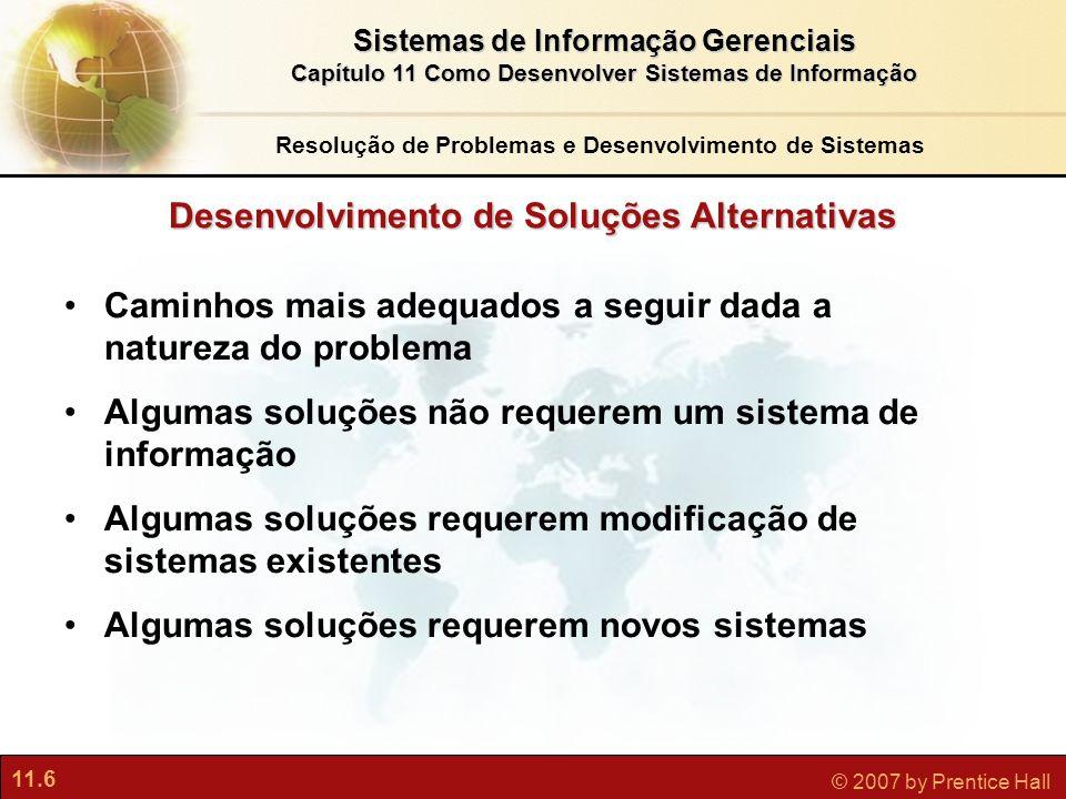 11.6 © 2007 by Prentice Hall Sistemas de Informação Gerenciais Capítulo 11 Como Desenvolver Sistemas de Informação Desenvolvimento de Soluções Alterna