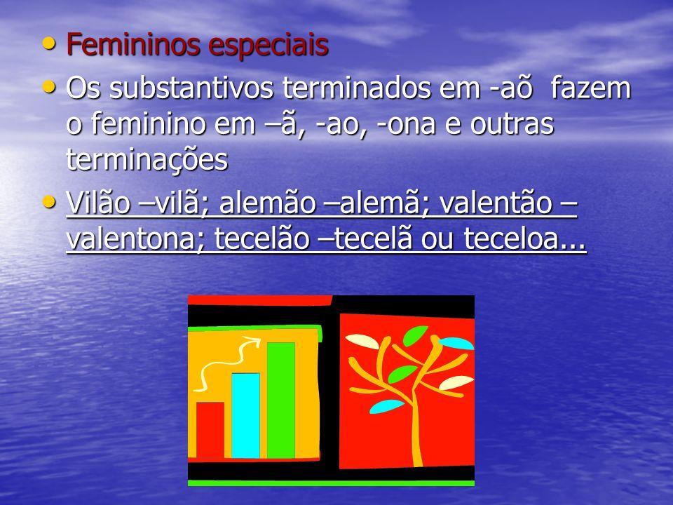 Femininos especiais Femininos especiais Os substantivos terminados em -aõ fazem o feminino em –ã, -ao, -ona e outras terminações Os substantivos termi