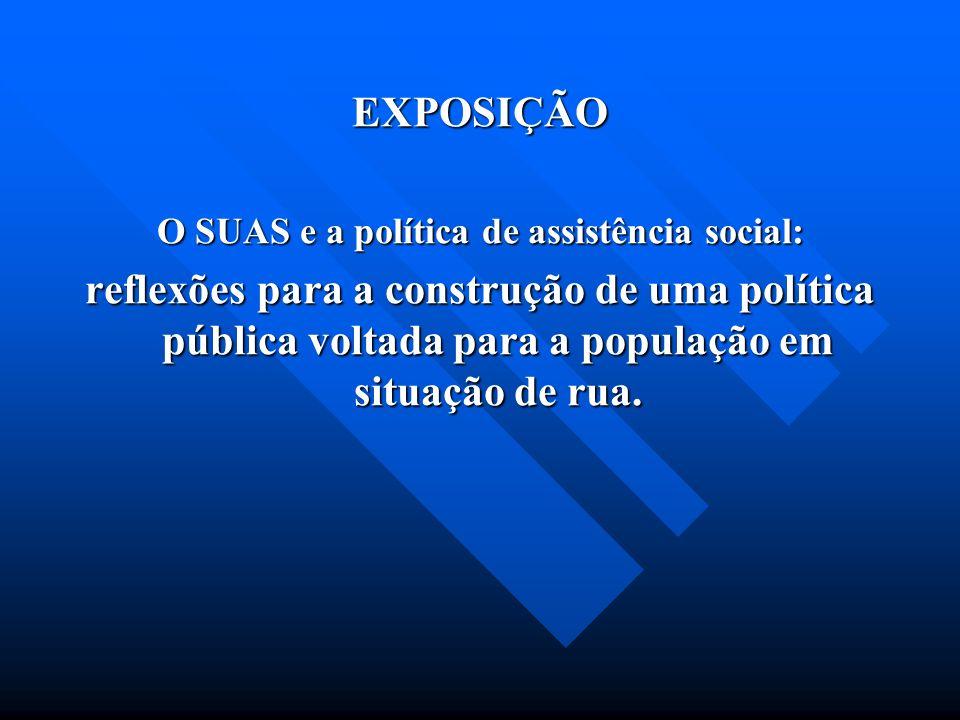 EXPOSIÇÃO O SUAS e a política de assistência social: reflexões para a construção de uma política pública voltada para a população em situação de rua.