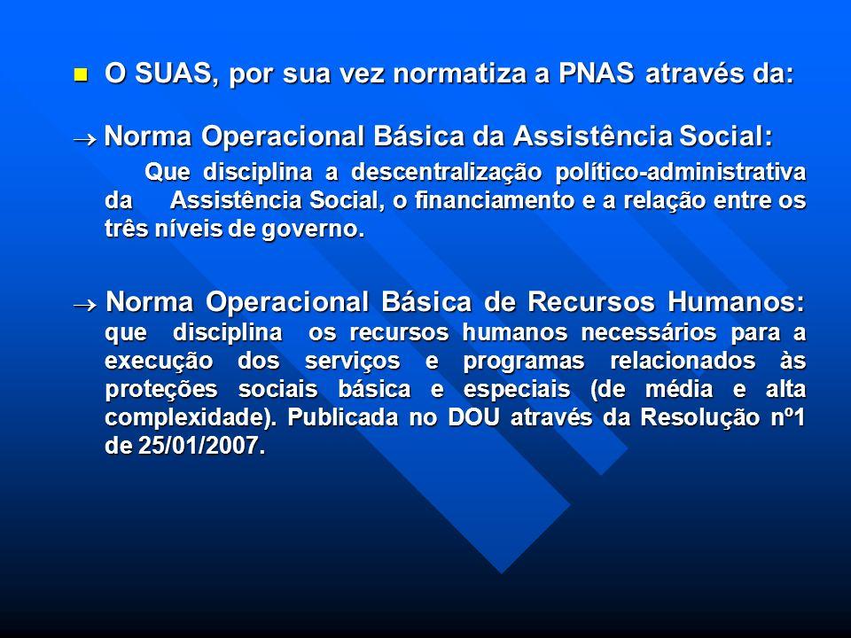 PNAS - Política Nacional de Assistência Social Expressa o conteúdo da Assistência Social no Sistema de Proteção Social Brasileiro no âmbito da Segurid