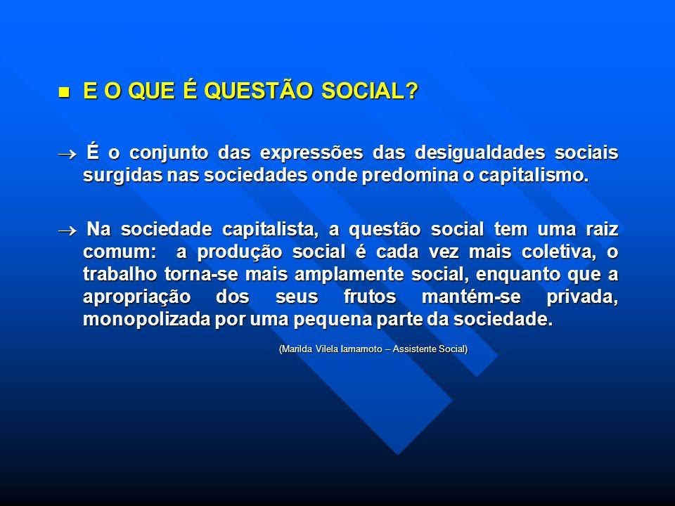 E O QUE É QUESTÃO SOCIAL.E O QUE É QUESTÃO SOCIAL.