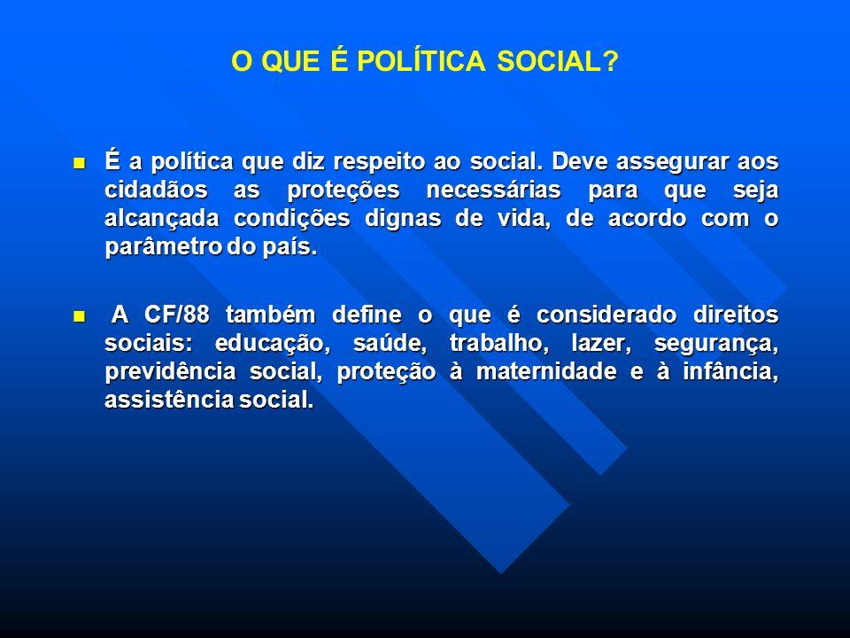 O QUE É POLÍTICA SOCIAL.É a política que diz respeito ao social.