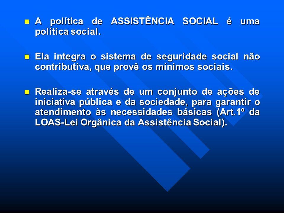A política de ASSISTÊNCIA SOCIAL é uma política social.