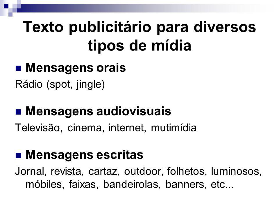 Texto publicitário para diversos tipos de mídia Mensagens orais Rádio (spot, jingle) Mensagens audiovisuais Televisão, cinema, internet, mutimídia Men