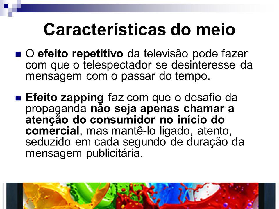 Características do meio O efeito repetitivo da televisão pode fazer com que o telespectador se desinteresse da mensagem com o passar do tempo. Efeito