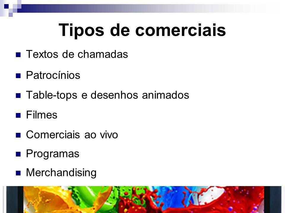 Tipos de comerciais Textos de chamadas Patrocínios Table-tops e desenhos animados Filmes Comerciais ao vivo Programas Merchandising