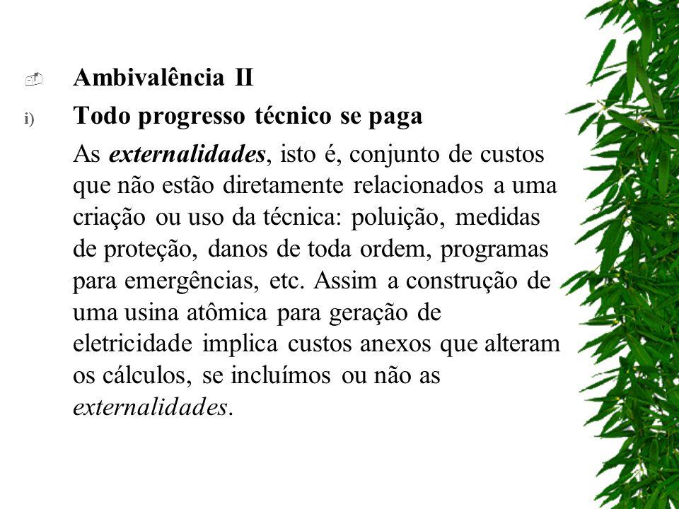 Ambivalência II i) Todo progresso técnico se paga As externalidades, isto é, conjunto de custos que não estão diretamente relacionados a uma criação ou uso da técnica: poluição, medidas de proteção, danos de toda ordem, programas para emergências, etc.