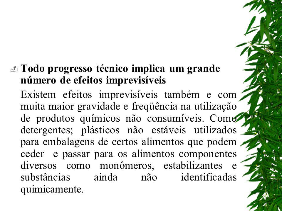 Todo progresso técnico implica um grande número de efeitos imprevisíveis Existem efeitos imprevisíveis também e com muita maior gravidade e freqüência na utilização de produtos químicos não consumíveis.