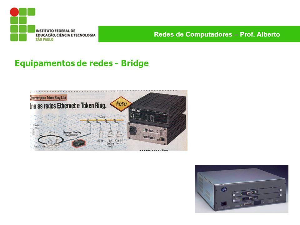 Redes de Computadores – Prof. Alberto Equipamentos de redes - Bridge