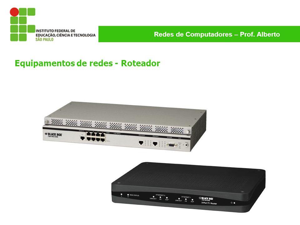 Redes de Computadores – Prof. Alberto Equipamentos de redes - Roteador