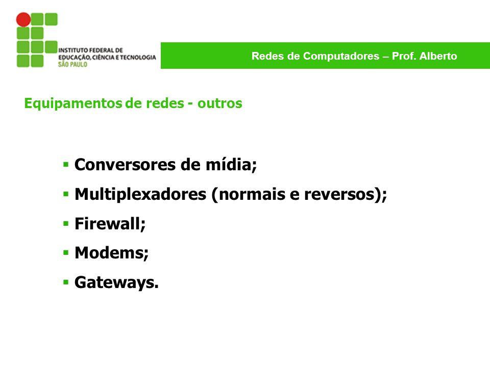 Redes de Computadores – Prof. Alberto Conversores de mídia; Multiplexadores (normais e reversos); Firewall; Modems; Gateways. Equipamentos de redes -