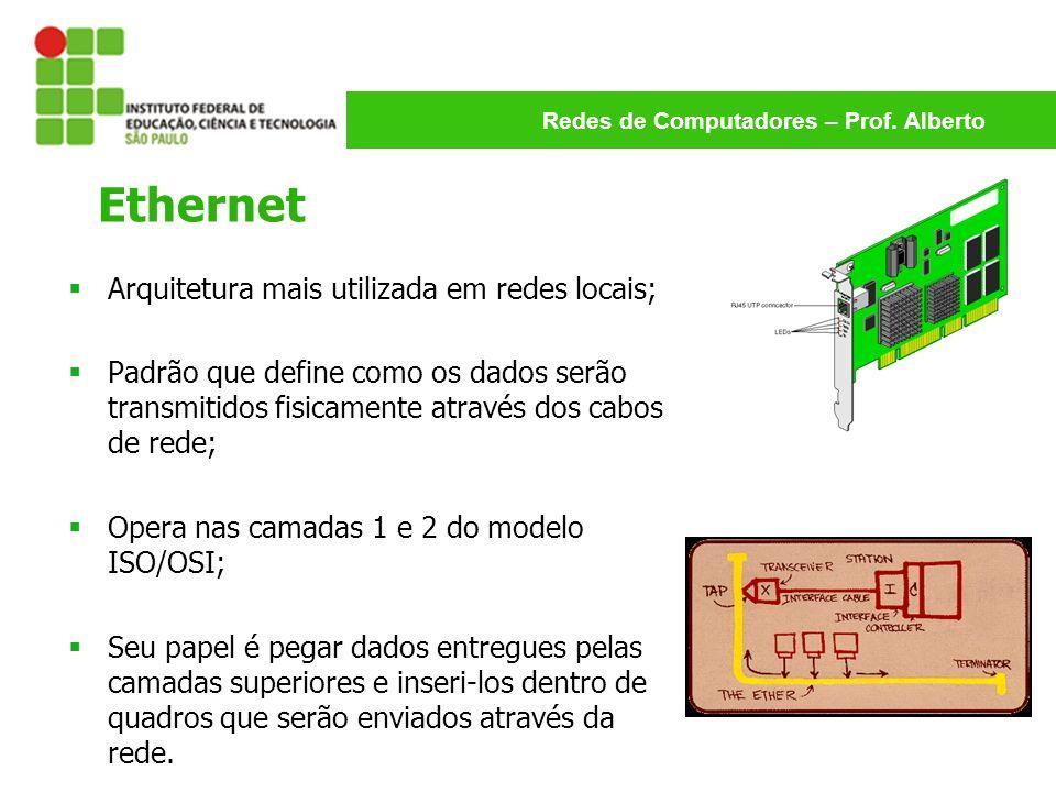 Redes de Computadores – Prof. Alberto Ethernet Arquitetura mais utilizada em redes locais; Padrão que define como os dados serão transmitidos fisicame