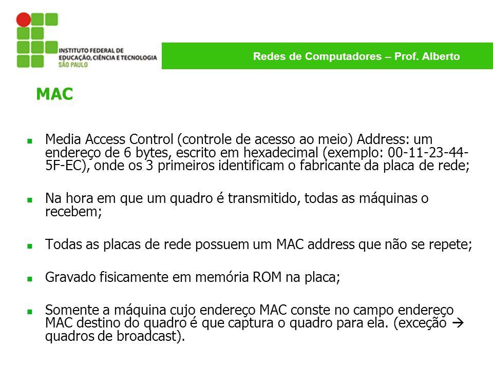 Redes de Computadores – Prof. Alberto Media Access Control (controle de acesso ao meio) Address: um endereço de 6 bytes, escrito em hexadecimal (exemp