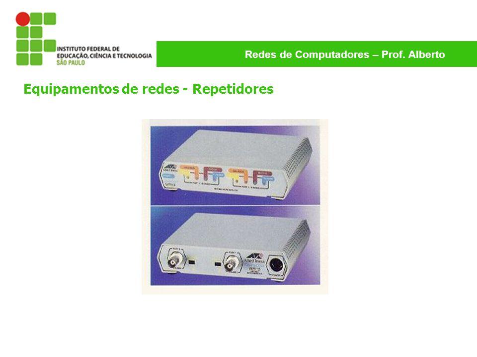 Redes de Computadores – Prof. Alberto Equipamentos de redes - Repetidores