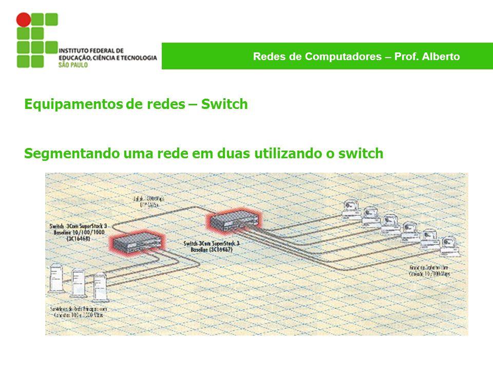 Redes de Computadores – Prof. Alberto Equipamentos de redes – Switch Segmentando uma rede em duas utilizando o switch