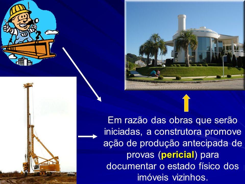 pericial Em razão das obras que serão iniciadas, a construtora promove ação de produção antecipada de provas (pericial) para documentar o estado físic