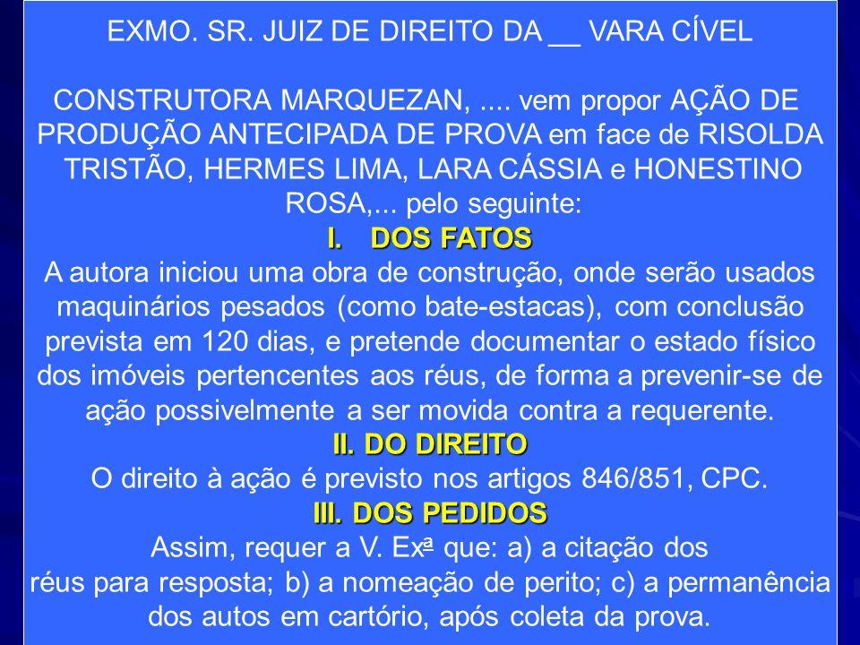 EXMO. SR. JUIZ DE DIREITO DA __ VARA CÍVEL CONSTRUTORA MARQUEZAN,.... vem propor AÇÃO DE PRODUÇÃO ANTECIPADA DE PROVA em face de RISOLDA TRISTÃO, HERM