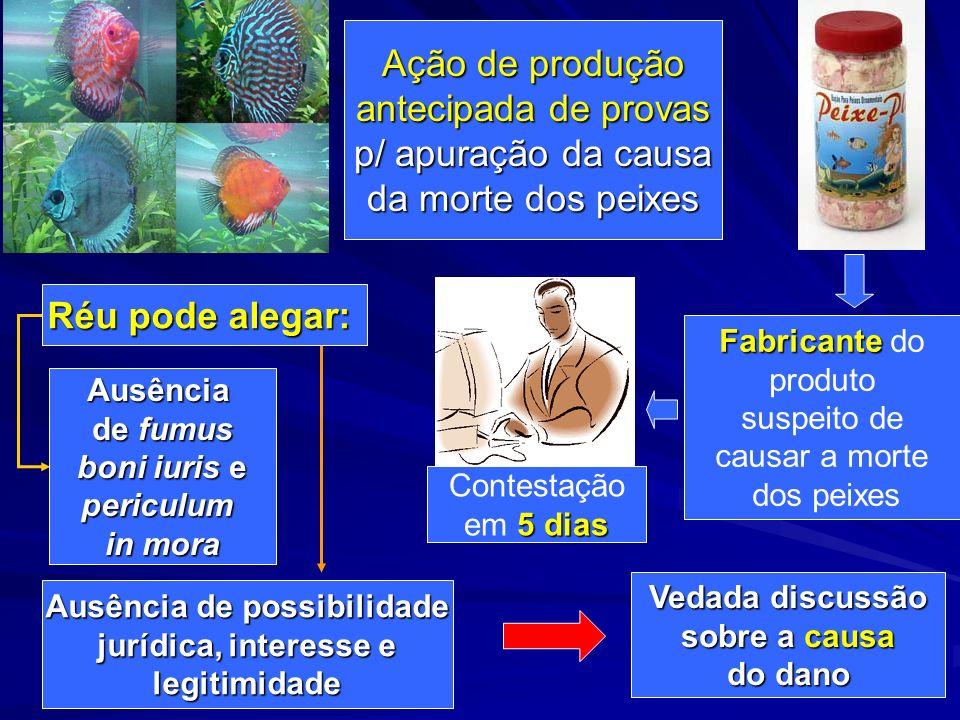 Ação de produção antecipada de provas p/ apuração da causa da morte dos peixes Fabricante Fabricante do produto suspeito de causar a morte dos peixes