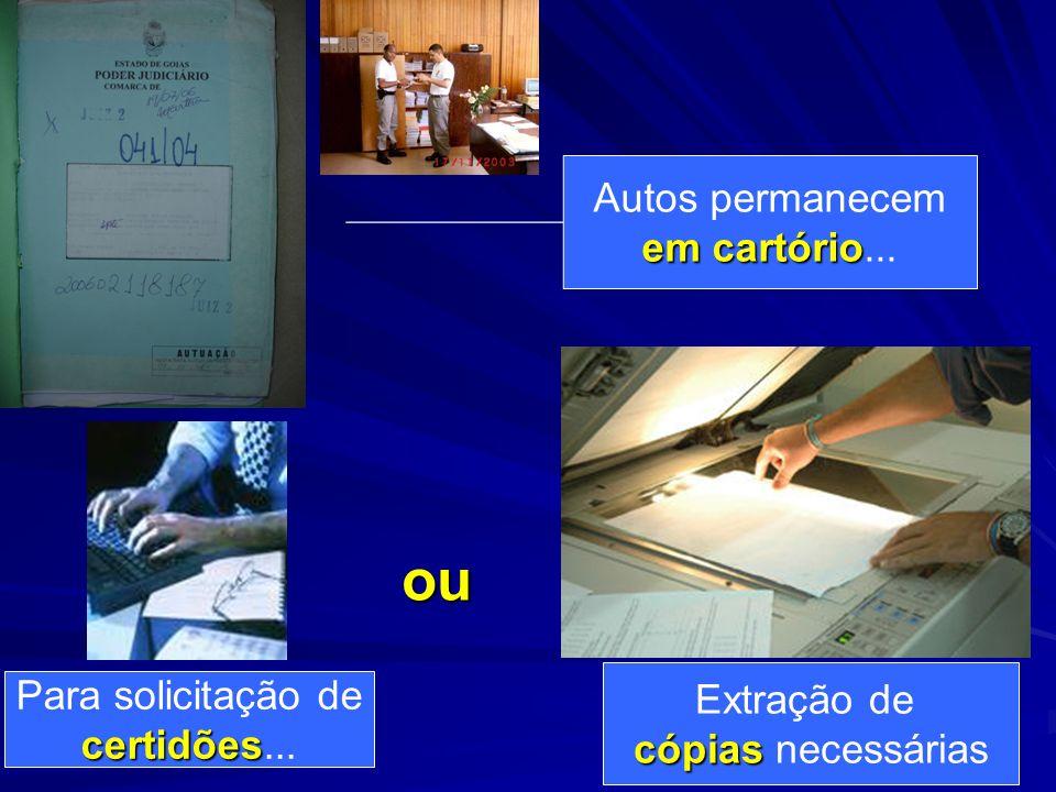 Autos permanecem em cartório em cartório... Para solicitação de certidões certidões... ou Extração de cópias cópias necessárias