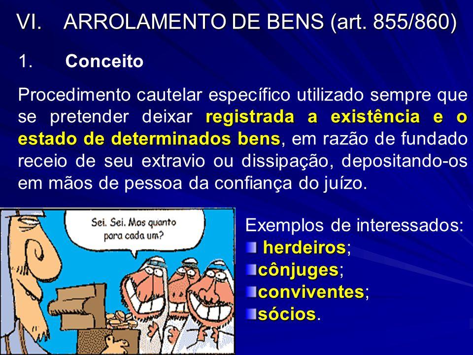 VI.ARROLAMENTO DE BENS (art. 855/860) 1.Conceito registrada a existência e o estado de determinados bens Procedimento cautelar específico utilizado se