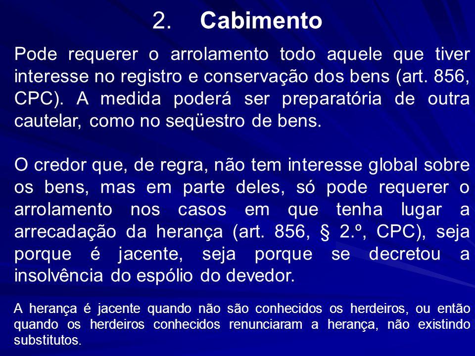 2.Cabimento Pode requerer o arrolamento todo aquele que tiver interesse no registro e conservação dos bens (art. 856, CPC). A medida poderá ser prepar