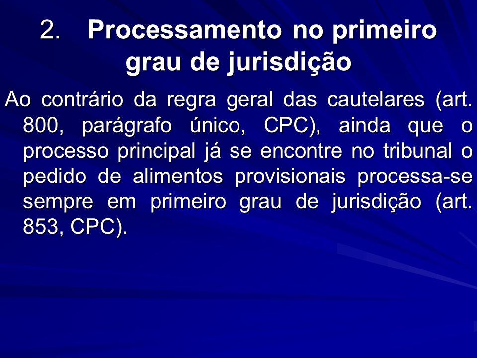 2.Processamento no primeiro grau de jurisdição Ao contrário da regra geral das cautelares (art. 800, parágrafo único, CPC), ainda que o processo princ