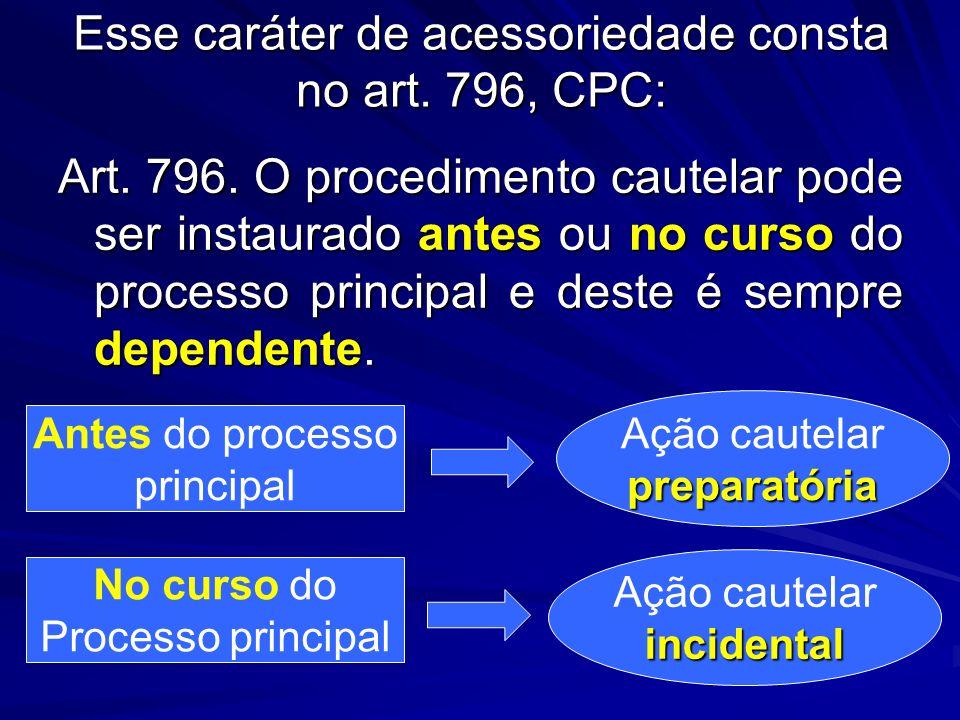 Esse caráter de acessoriedade consta no art. 796, CPC: Art. 796. O procedimento cautelar pode ser instaurado antes ou no curso do processo principal e