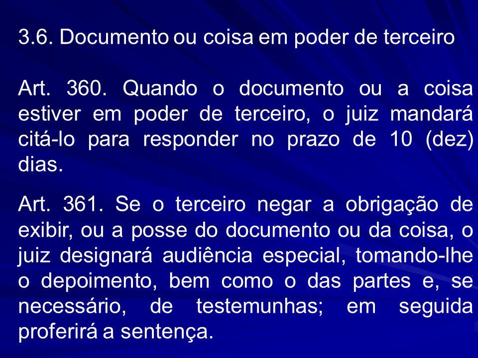 3.6. Documento ou coisa em poder de terceiro Art. 360. Quando o documento ou a coisa estiver em poder de terceiro, o juiz mandará citá-lo para respond